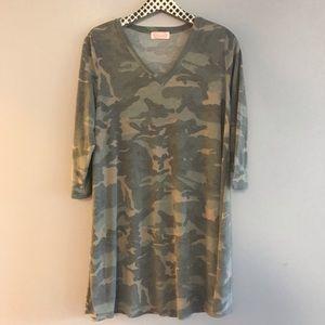 Blush Boutique Camo V-Neck Dress